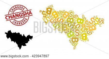 Distress Changsha Stamp, And Finance Mosaic Map Of Jilin Province. Red Round Stamp Contains Changsha