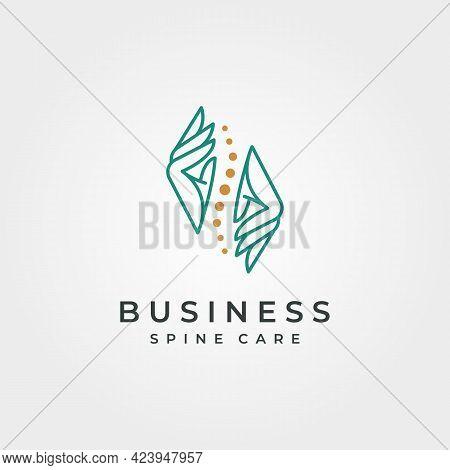 Hand And Spine Logo Vector Abstract Symbol Illustration Design, Spine Clinic Minimal Logo Design