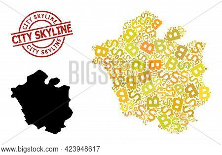 Textured City Skyline Stamp Seal, And Financial Mosaic Map Of Chandigarh City. Red Round Stamp Seal