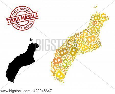Distress Tikka Masala Stamp, And Financial Mosaic Map Of Niihau Island. Red Round Stamp Contains Tik