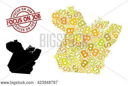Rubber Focus On Job Stamp Seal, And Currency Collage Map Of Paral State. Red Round Seal Contains Foc