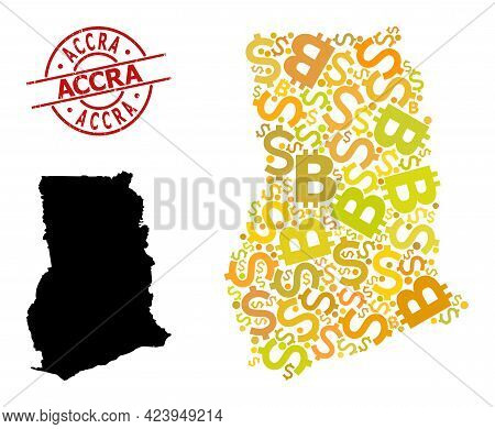 Distress Accra Stamp Seal, And Currency Mosaic Map Of Ghana. Red Round Stamp Seal Has Accra Title In