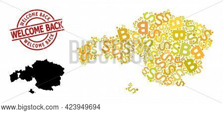 Rubber Welcome Back Stamp Seal, And Banking Collage Map Of Vizcaya Province. Red Round Stamp Seal Ha