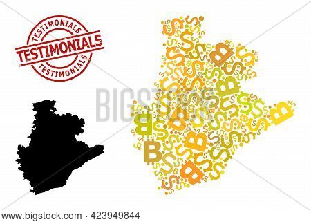 Scratched Testimonials Stamp Seal, And Finance Collage Map Of Barcelona Province. Red Round Seal Inc