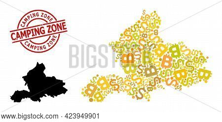 Distress Camping Zone Stamp, And Finance Collage Map Of Gelderland Province. Red Round Stamp Seal Co