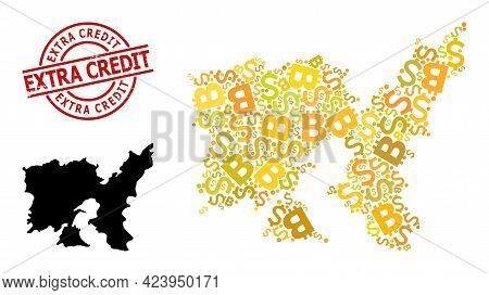 Textured Extra Credit Stamp Seal, And Finance Mosaic Map Of Lemnos Island. Red Round Stamp Seal Incl