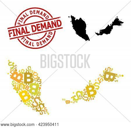 Rubber Final Demand Stamp, And Financial Collage Map Of Malaysia. Red Round Stamp Includes Final Dem