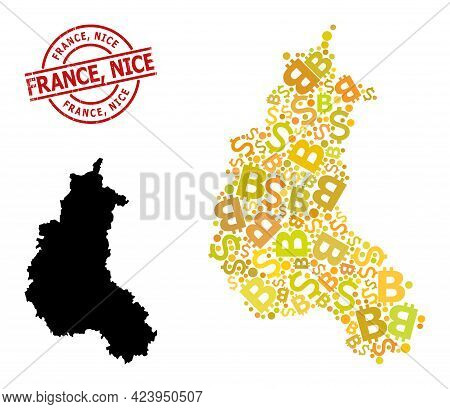 Scratched France, Nice Stamp, And Finance Mosaic Map Of Champagne Province. Red Round Stamp Seal Con