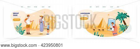 Guide Tour Landing Page Design, Website Banner Vector Template Set. Tourists On Excursion To Egyptia