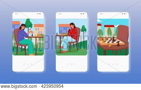 Women Playing Chess Strategy Board Game. Mobile App Screens, Vector Website Banner Template. Ui, Web