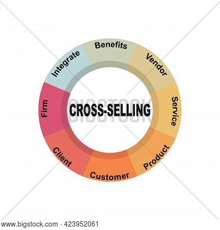 Diagram Concept With Cross-selling Text And Keywords. Eps 10 Isolated On White Background