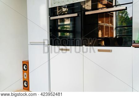 Built-in Appliances, White Kitchen Cupboard. Furniture For Interior Of House
