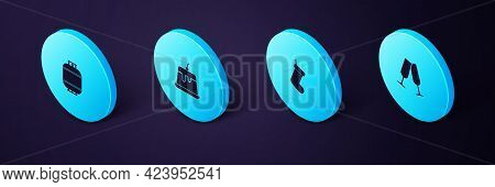 Set Isometric Glasses Of Champagne, Christmas Sock, Pudding Custard And Propane Gas Tank Icon. Vecto
