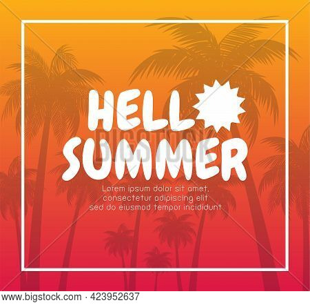Hello Summer Banner Template. Summer Time Text And Beach Island Background With Tropical Season Elem
