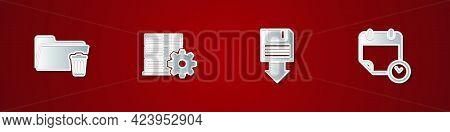 Set Delete Folder, Server Setting, Floppy Disk Backup And Calendar And Clock Icon. Vector