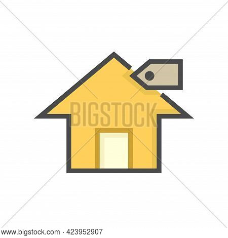 House For Sale Vector Icon. That Foreclose Real Estate Or Property Consist Of Home Or House Building