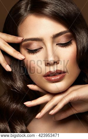 Woman Make Up Portrait. Professional Face Cosmetic Care And Nail Manicure. Beauty Model Girl With Cl