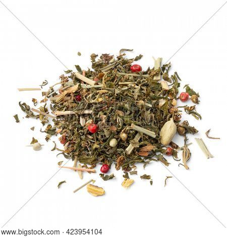 Heap of a mixture healthy herbal tea close up  isolated on white background