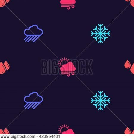 Set Snowflake, Cloud With Rain, Windy Weather And Water Drop On Seamless Pattern. Vector
