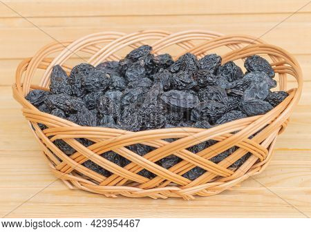 Dried Plums In The Basket - Delcious And Beneficial Fruit Good For Health