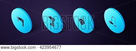 Set Isometric Vacuum Cleaner, Electric Circular Saw, Cordless Screwdriver And Drill Machine Icon. Ve