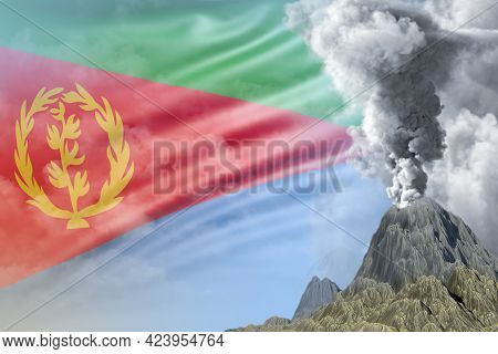 Volcano Blast Eruption At Day Time With White Smoke On Eritrea Flag Background, Troubles Because Of