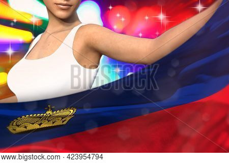 Beautiful Woman Is Holding Liechtenstein Flag In Front Of Her On The  Party Lights - Flag Concept 3d
