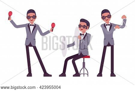 Musician, Jazz, Rock And Roll Man Playing Professional Percussion Instruments. Maraca, Triangle, Cym
