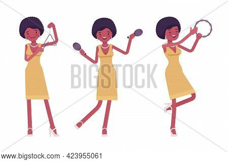 Musician, Jazz, Rock And Roll African Woman Playing Percussion Instruments. Maraca, Triangle, Tambou