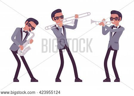 Musician, Jazz, Rock And Roll Man Playing Professional Wind Instruments. Saxophone, Trumpet, Horn Pe