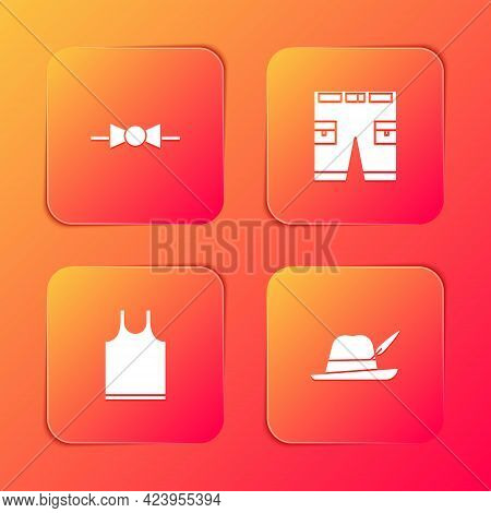 Set Bow Tie, Short Or Pants, Sleeveless T-shirt And Oktoberfest Hat Icon. Vector