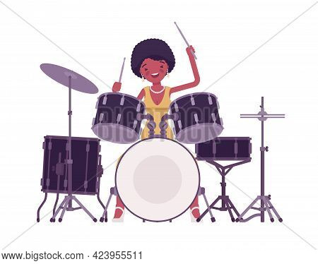 Musician, Jazz, Rock And Roll African Woman Playing Drum Instrument, Percussion Set. Club Music Even