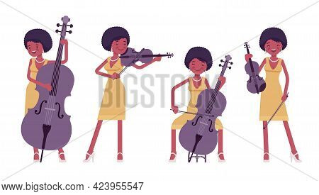 Musician, Jazz, Rock And Roll African Woman Playing String Instruments. Double Bass, Violin, Fiddle