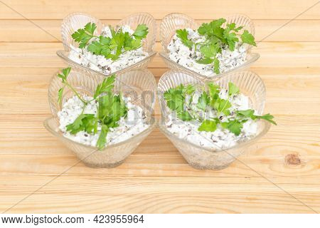 Tasty Eggplant Salad Mixed With Mayonnaise And Parsley -healthy Food Concept - Selective Focus