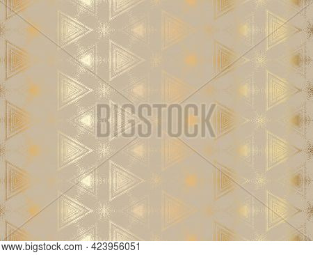 Abstract Gold And Beige Textured Kaleidoscopic Hexagon Pattern. Symmetrical Geometric Ornament For D