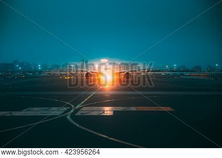 Aircraft Airplane Stand On Runway In Evening Night Time