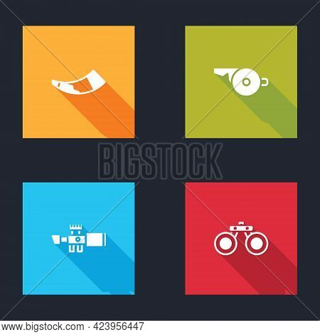 Set Hunting Horn, Whistle, Sniper Optical Sight And Binoculars Icon. Vector