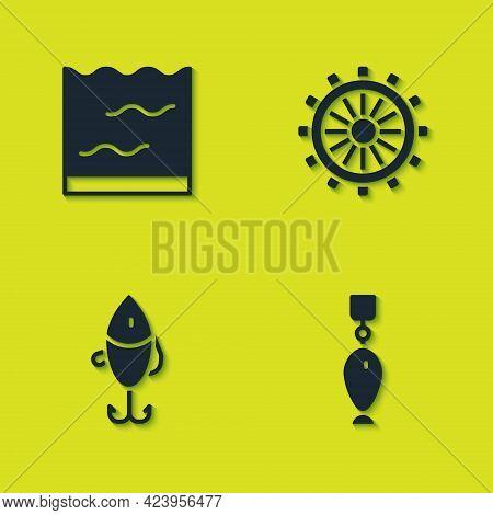 Set Aquarium, Fishing Spoon, Lure And Ship Steering Wheel Icon. Vector