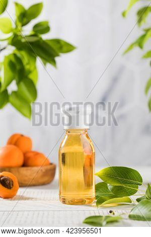 Liquid Cosmetic Product With Apricot Extract. Shower Gel With Apricot.