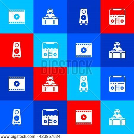 Set Online Play Video, Dj Playing Music, Stereo Speaker And Home Stereo With Speakers Icon. Vector