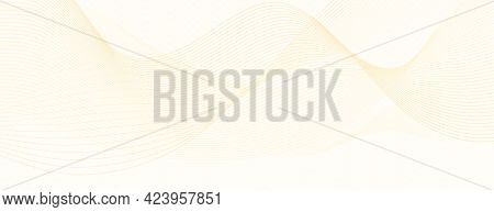 Light Yellow Watermark. Waves Of Subtle Lines. Net Pattern, Guilloche. Flowing Squiggle Curves. Vect