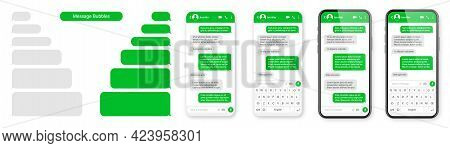 Realistic Smartphone With Messaging App. Blank Sms Text Frame. Messenger Chat Screen With Green Mess