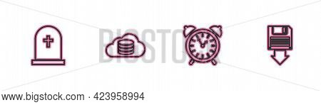 Set Line Tombstone With Cross, Alarm Clock, Cloud Database And Floppy Disk Backup Icon. Vector
