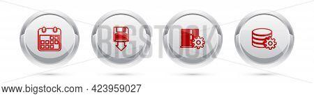 Set Line Calendar, Floppy Disk Backup, Server Setting And Setting Database Server. Silver Circle But