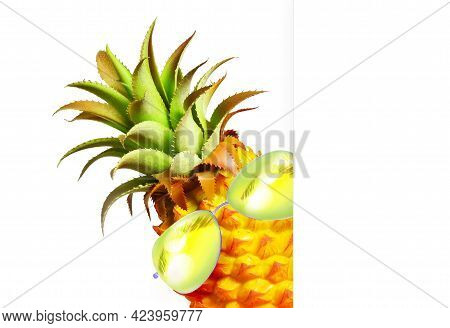 Pineapple With Green Sunglasses On The White Background.
