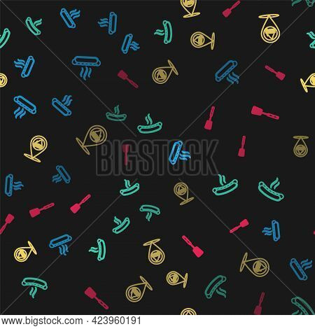 Set Line Hotdog Sandwich, , Location With Barbecue And Barbecue Spatula On Seamless Pattern. Vector