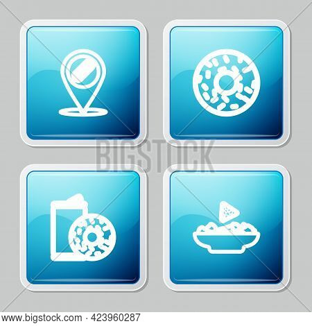 Set Line Location With Hotdog, Donut, Aluminum Can Soda And Donut And Nachos Plate Icon. Vector