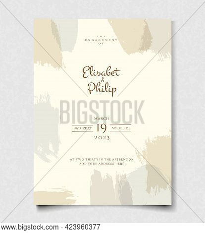 Abstract Modern Wedding Invitation Card In Pastel Colors. Art Brush Design Template. Graphic Vector
