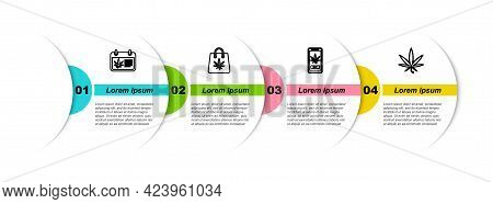 Set Line Calendar And Marijuana, Shopping Bag Of, Online Buying And Marijuana Or Cannabis Leaf. Busi