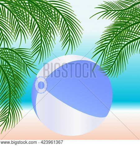 Seascape, Swimming Inflatable Ball, Palm Tree, Sandy Shore - Vector. Summer Vacation.